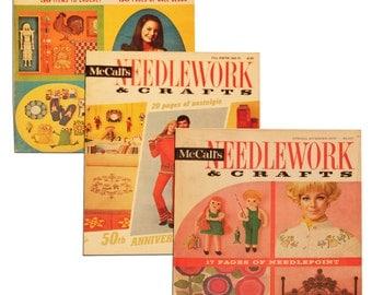 Three 1970's McCalls Needlework and Crafts Magazines