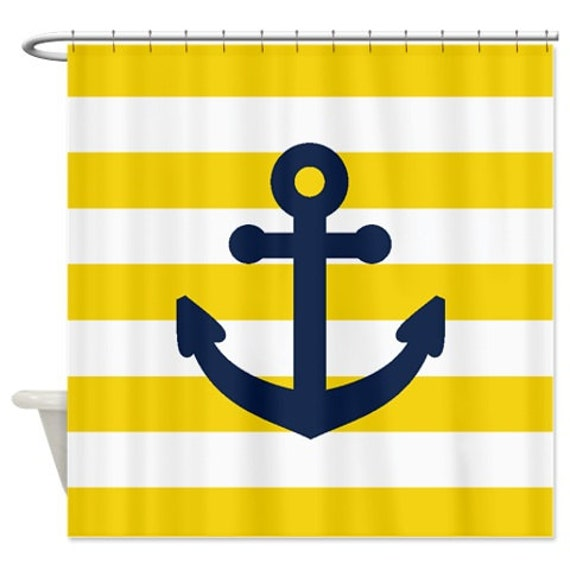 Navy Blue And Yellow Curtains: Nautical Shower Curtain-Yellow And White Stripes-Navy Blue