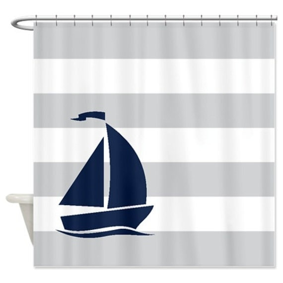 Nautical Shower Curtain Light Grey And White Stripes Navy Blue
