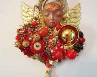 Angel Wall Art, Angel Sculpture, Guardian Angel, Costume Jewelry Art, Altered Art, JEWELRY COLLAGE, Junk Jewelry Art, Jewelry Assemblage