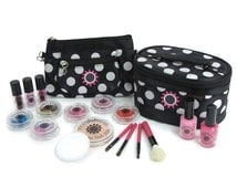 Super Deluxe Kit Girls Pretend Makeup Cosmetics - Classic Black - 100% Fake - No Color Transfer - Looks And Feels Real!