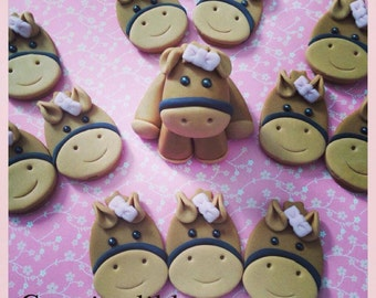Fondant Horse cake and cupcake topper set
