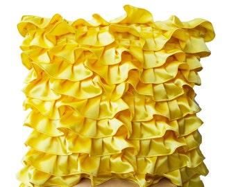 Yellow Satin Ruffle Pillow -Decorative Pillow -Throw Pillow -Accent Pillow -18x18 -Gift -Couch Pillow -Dorm Decor -Nursery Pillow -Wedding