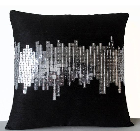 Small Black Decorative Pillow : Items similar to Decorative Pillow, Black Small Pillow, Black Silver Pillows, Decorative Throw ...