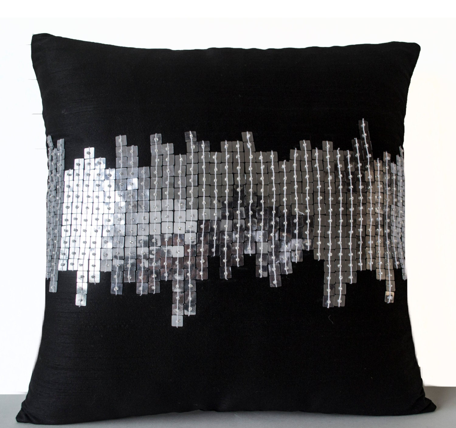 Black And Silver Decorative Pillows : Black Silk Pillows Black Silver Pillows Decorative Throw