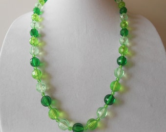 Vintage 1940's Bead Necklace, Made West Germany, Green Bead Necklace, Single Strand, Costume Jewelry, Vintage Necklace,