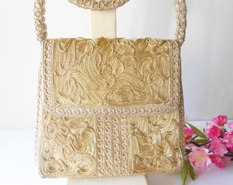 Gold Evening Bag, Shimmery Evening Bag, Vintage Gold Metallic, Gold Handbag, Glamorous Purse EB-0310