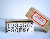 Wooden rubber stamp set numbers very large. Supplies scrap booking, crafting, cardmaking. Retro office supplies, 1980s large number stamps