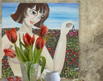 "Naked girl in meadow with cherry Erotica Portrait Painting of nude Woman KSAVERA ""Nika""16x16 Contemporary Original art Lady Cubism picnic"