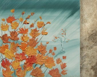 autumn foliage Painting of the rain in city pumpkin orange and gray art palette knife impasto KSAVERA Modern decor maple leaves cityscape