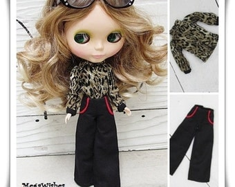 Sale* Blythe Dal Doll Outfit Dress - Beautiful Leopard Long Sleeves Shirt & Pants