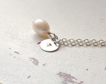 Initial Necklace, Silver Pearl Necklace, Freshwater Teardrop Pearl, Personalized Charm Necklace, Freshwater Pearl Necklace