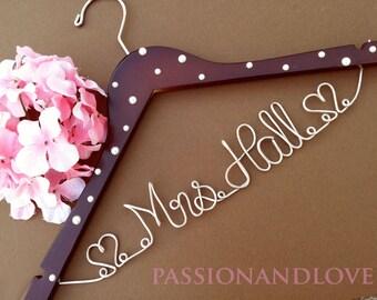 WEEKEND SALE. Personalized Bridal Wedding Hanger. Bridal Party. Custom Hanger. Pearl Hanger, Bridesmaid Hanger,