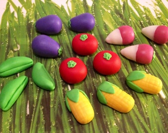 Fondant Vegetable Foodie Cupcake - Cake Decorations