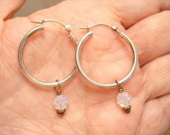 Vintage Opalite Dangle Sterling Hoop Earrings