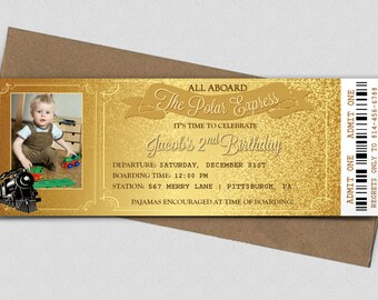 Polar Express Birthday Ticket Invitation - Printable