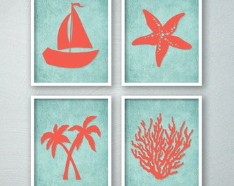Tropical Bathroom Decor - Tropical Bath Art Prints - Beach Bathroom Wall Art - Saiboat Palm Trees Starfish Coral - Aqua Bathroom Decor