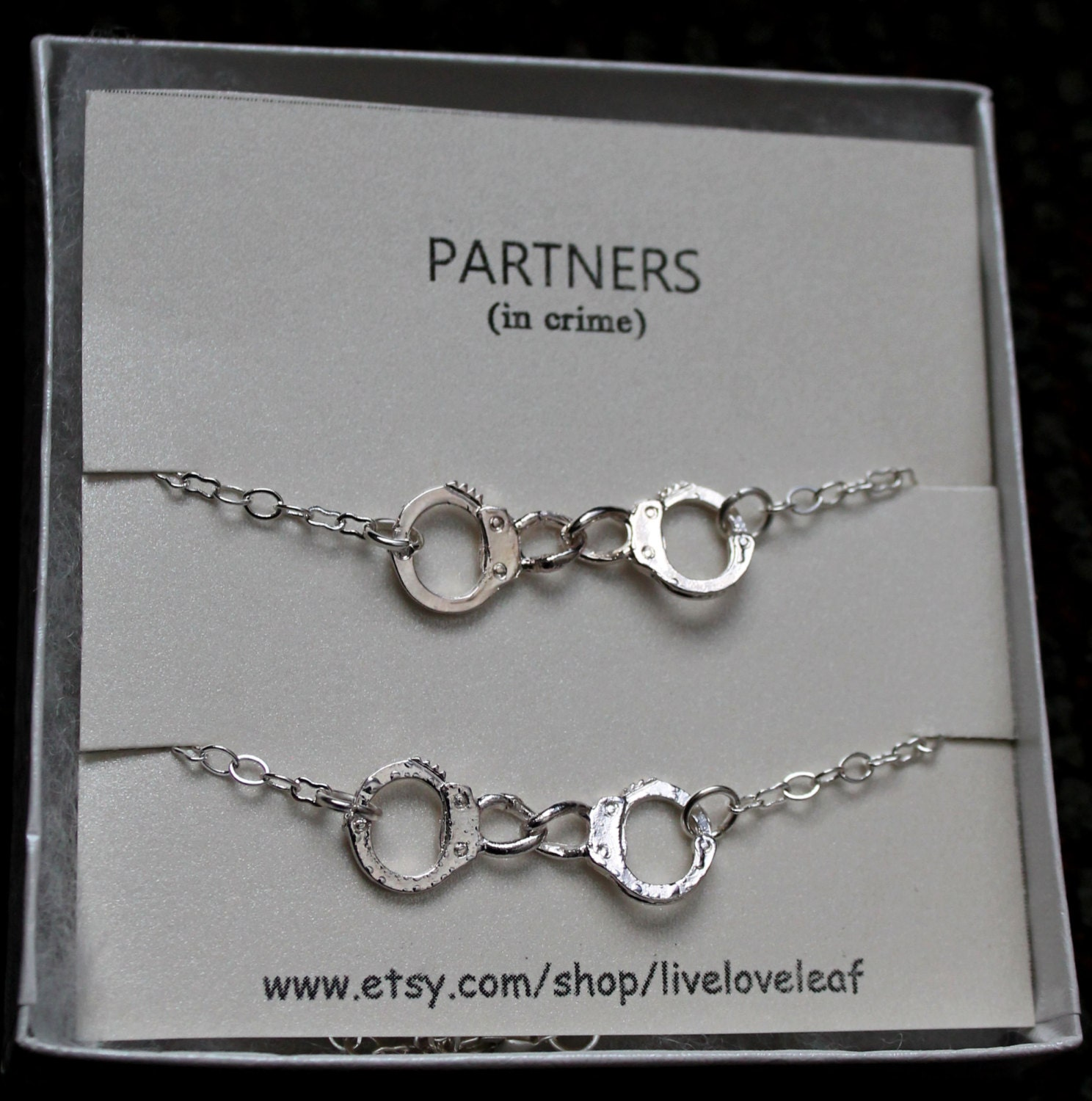 partners in crime matching bff bracelets silver by