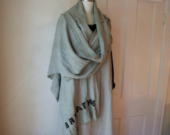 """Hand Painted """"BREATHE"""" 100% Linen Shawl Scarf / New Listing"""