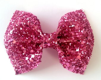 Mini Grapefruit Pink glitter bow