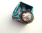Capricorn Zodiac Necklace Constellation Astrology Sign Henna Mehndi Vintage Style Hand Drawn Handmade Jewelry Strength Symbol Floral Design