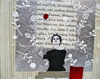 "SALE: Original Collage From Found Materials  - Original Collage Art ""Heart Beats"""