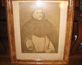 "FRAMED VINTAGE PHOTOGRAPH (Monk)-Hand Signed Rubeus Galbery 12"" X 14"""