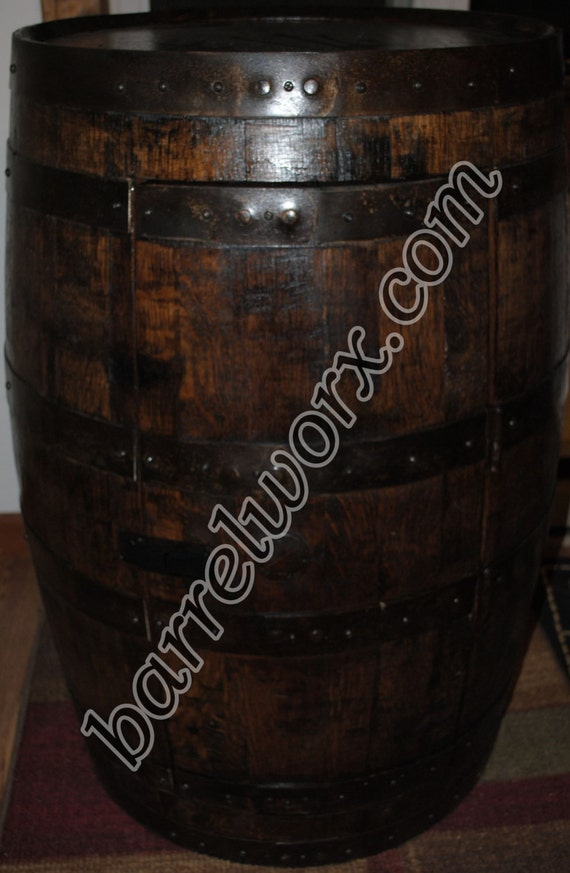 Whiskey Barrel Liquor Cabinet With Glass Shelf And By