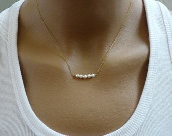 Pearl necklace, Gold filled necklace, Swarovski pearl necklace, Bar necklace, Simple necklace