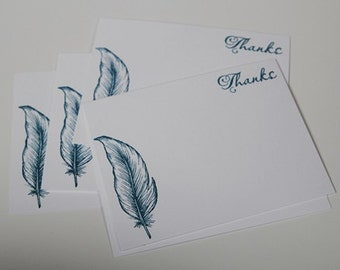 Blue Feather Thank You Note Card Set, Hand Made Feather Stationery Set
