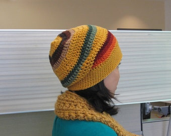 Crochet Slouchy Beanie - Mustard Yellow with Colorful Stripes