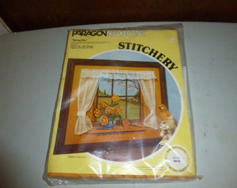 Vintage Paragon Spring Day Crewe Embroideryl Kit Window Scene Flowers Curtains