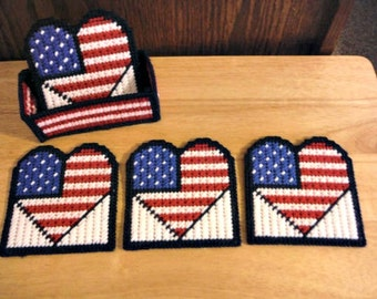 Patriotic Hearts Coaster Set, plastic canvas, needlepoint Canvas, Patriotic Decor, Patriotic Gift, 4th of July, Kitchen Decor
