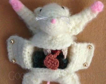 Dissected Mouse with Removable Organs Crocheted Amigurumi Science