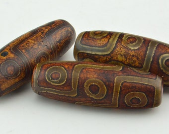 2PC Tibetan Agate dzi 9  EYE  Barrel  Bead 13mm X 40mm