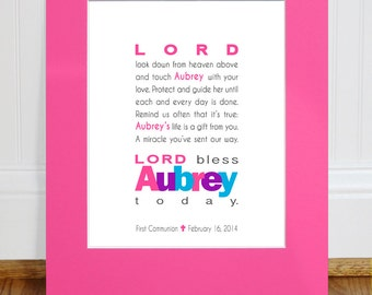 Personalized Gift - Girls Prayer PRINT - Baptism Gift, Christening Gift, Baby Gift, First Communion Gift, Baby Wall Art for Nursery