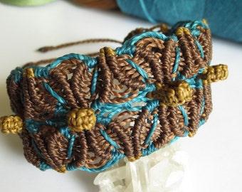Blue & Dark Brown Macrame Friendship Surf Bracelet Handmade wristband