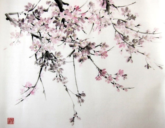 Japanese Ink Painting on Rice Paper 18x20