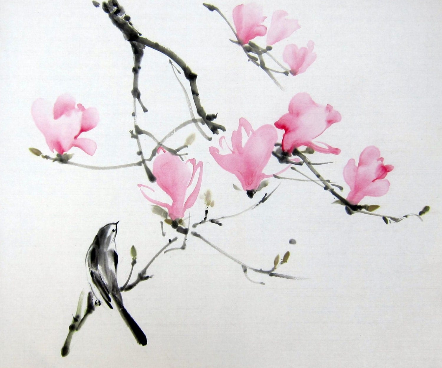 Suibokuga Japanese Ink Painting Sumi E Floral Spring Is Coming