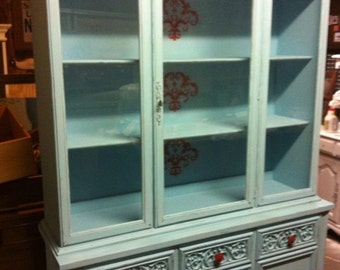 SOLD...............Shabby Chic Turquoise China Hutch furniture