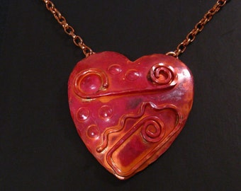 Large Heart Necklace, Rustic Red Heart Necklace, Copper Heart Pendant, Romantic Copper Jewelry