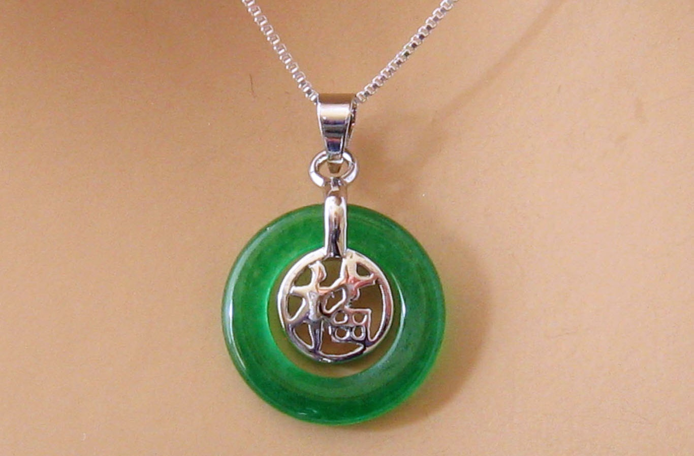 Green jade necklace sterling silver good luck symbol green for Pictures of jade jewelry