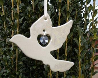 Handcrafted Memorial Dove Porcelain Ornament with Swarovski Crystal, Wedding Favor, Dove Ornament, Wedding Decor, Sun Catcher