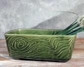 Vintage Brush Green Woodgrain Ceramic Planter