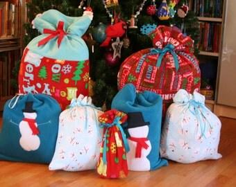 Christmas Gift Bag Snowman Collection - 7 Reusable Cloth Bags