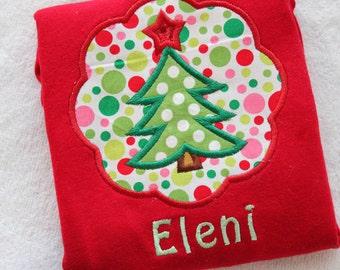 Personalized Girl's Christmas Tree Shirt - Monogrammed Christmas Girls Shirt