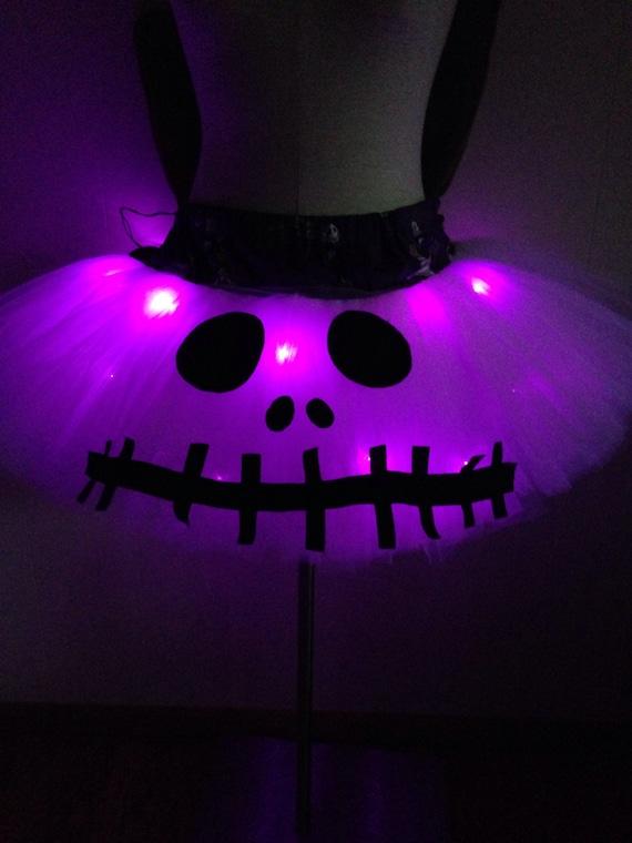 Jack Skellington Adult Plus Size Halloween TuTu with Purple Lights