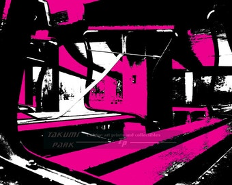 Abstract Magenta Black And White Art Print, Modern Abstract Art, Home Decor, Magenta Art, Office Decor, Living Room Art, Abstract Picture