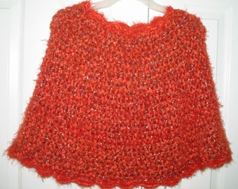 Crocheted Capelet in Flame (item # PL0003) - Ladies One size fits all