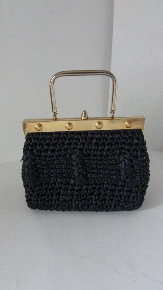 Handbag Navy Blue Straw Raffia Handbag With Goldtone Navy Handbag Blue ...